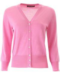 Dolce & Gabbana Silk Buttoned Cardigan - Pink