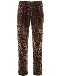 Dolce & Gabbana Leopard Pajama Pants - Brown