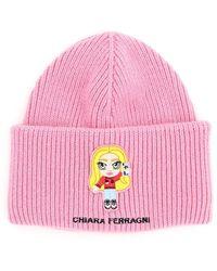 Chiara Ferragni Cfmascotte Embroidered Beanie Os Wool,cashmere - Pink