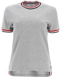 Thom Browne Cotton Piquet T-shirt - Grey