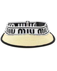 Miu Miu Raffia Visor With Logo - Black