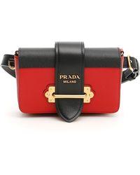 Prada Cahier Leather Belt Bag - Red
