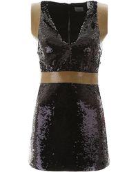 Burberry Tape Detail Sequinned Mini Dress - Black