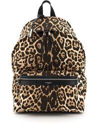 Saint Laurent City Canvas Leopard Backpack - Black