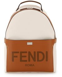 Fendi Essential Backpack In Canvas And Leather Os Cotton,leather - Multicolour