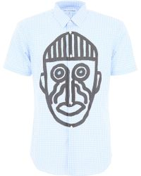 Comme des Garçons Mask Graphic Gingham Short Sleeved Shirt Blue