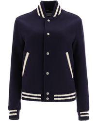 Saint Laurent Teddy Wool-blend Varsity Jacket - Blue