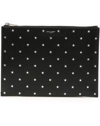 Saint Laurent Star-embossed Pouch Bag - Black