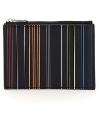 Paul Smith Stripe Card Holder Pouch - Black