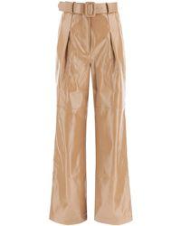 Self-Portrait Faux Leather Trousers - Natural