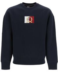 Tommy Hilfiger Crew Neck Sweatshirt With Thc Emblem Patch - Blue