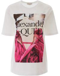 Alexander McQueen Rose Dress Print T-shirt - White