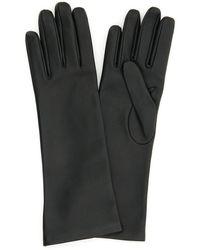 Saint Laurent Mi-longs Leather Gloves - Black