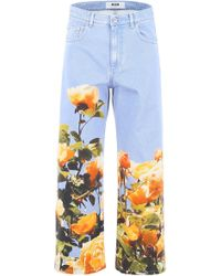 MSGM Jeans With Floral Print - Blue