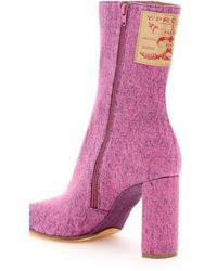 Y. Project Pointy Patent Ankle Boots 36 Cotton,denim - Purple