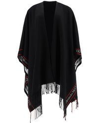 Alexander McQueen Cape With Jacquard Logo - Black