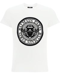 Balmain Medallion Logo Flock T-shirt - Black