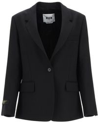 MSGM Wool Blazer - Black