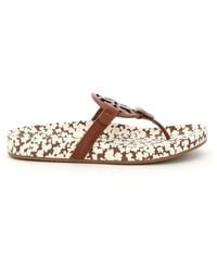 Tory Burch Miller Cloud Leather Mules 5 Leather - Brown