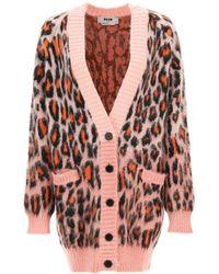 MSGM Leopard Cardigan S Technical - Pink
