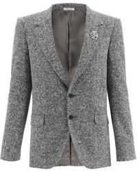 Alexander McQueen Square Tweed Blazer - Grey