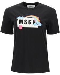 MSGM T-SHIRT BOX LOGO RAINBOW - Nero