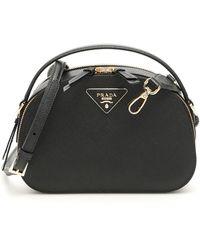 Prada Odette Logo Crossbody Bag - Black