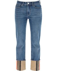 Burberry Marissa Jeans With Striped Turn-up - Blue