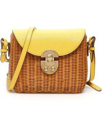 Miu Miu Straw Crossbody Bag - Yellow