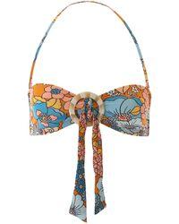 Dodo Bar Or Floral Bikini Top - Blue