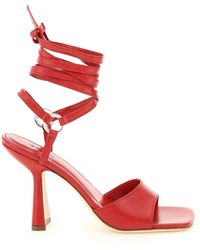 BY FAR Fida Leather Sandals - Red