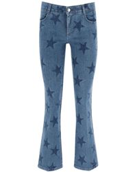 Stella McCartney Crop Flare Jeans With Stars Print - Blue