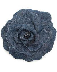 Philosophy Jeans Flower Brooch - Blue