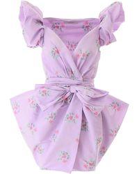 Philosophy Flower Print Mini Dress 40 - Purple
