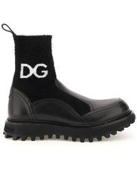Dolce & Gabbana Dolce & Gabbana Logo Knit Ankle Boots - Black