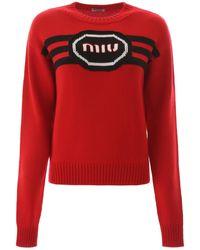 Miu Miu Logo Embroidery Jumper - Red