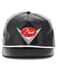 Rhude Leather Baseball Hat With Logo Embroidery Os Leather - Black