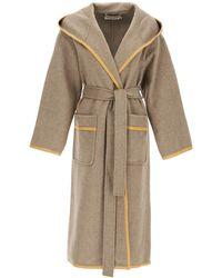 Tory Burch Wool Wrap Coat - Natural