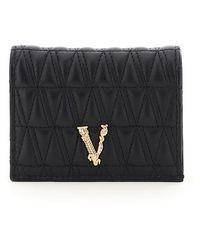 Versace Virtus Quilted Wallet - Black