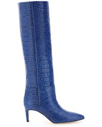 Paris Texas Crocodile-embossed Boots 37 Leather - Blue
