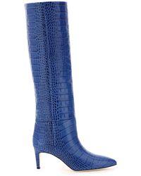 Paris Texas Crocodile-embossed Boots - Blue