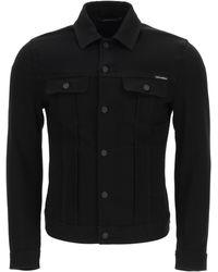 Dolce & Gabbana Denim Jacket With Embossed Logo 48 Cotton - Black