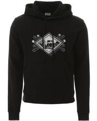 Saint Laurent Graphic Print Hoodie - Black