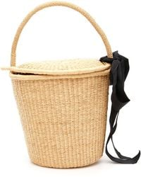 Sensi Studio Wicker Bucket Bag With Bow - Natural