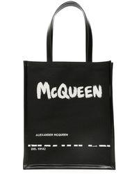 Alexander McQueen SHOPPER LOGO GRAFFITI JACQUARD - Nero