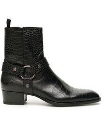 Saint Laurent Wyatt 40 Harness Boots - Black