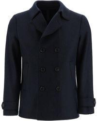 Harris Wharf London Boiled Wool Pea Coat - Blue