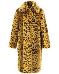 STAND Maxine Leopard Eco-fur Coat - Yellow