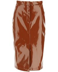 Sportmax Patent Pencil Skirt - Brown