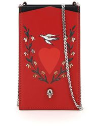 Alexander McQueen Phone Case With Print And Chain - Red